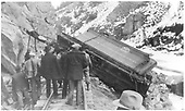 Wreck 1 mile east of Sapinero.  Train hit a rock.<br /> D&amp;RGW  Sapinero, CO  2/17/1934