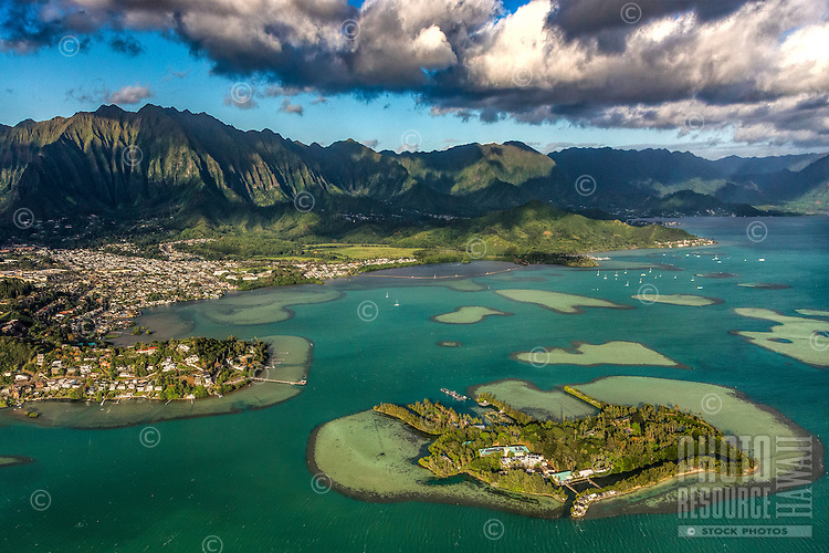 A lush morning view during a helicopter tour of Windward O'ahu.