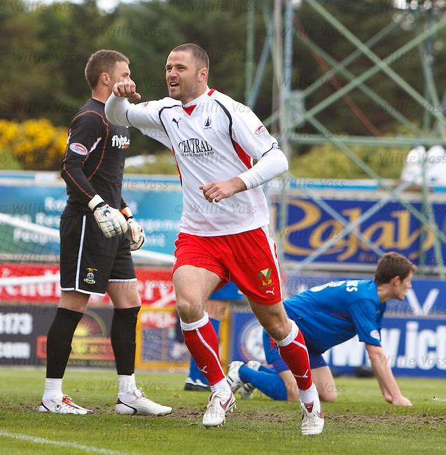 Michael Higdon celebrates his goal for Falkirk