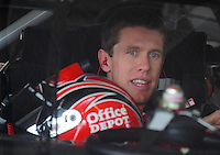 Feb 13, 2008; Daytona Beach, FL, USA; Nascar Sprint Cup Series driver Carl Edwards (99) during practice for the Daytona 500 at Daytona International Speedway. Mandatory Credit: Mark J. Rebilas-US PRESSWIRE