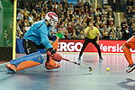 Leipzig, Germany, February 08: Mateusz Szymczyk #32 of Austria in action during the men gold medal match between The Netherlands (orange) and Austria (white) on February 8, 2015 at the FIH Indoor Hockey World Cup at Arena Leipzig in Leipzig, Germany. Final score 3-2. (Photo by Dirk Markgraf / www.265-images.com) *** Local caption ***