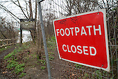 Closed footpath on a nature trail by the side of the River Lea, close to the proposed site of the 2012 Olympic Games in Stratford, London.