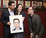 Santino Fontana with wife Jessica Fontana and  Andy Grotelueschen during the Santino Fontana portrait unveiling at Sardi's on May 21, 2019 in New York City.