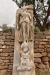 Israel, the Coastal Plain. Roman statues in Ashkelon