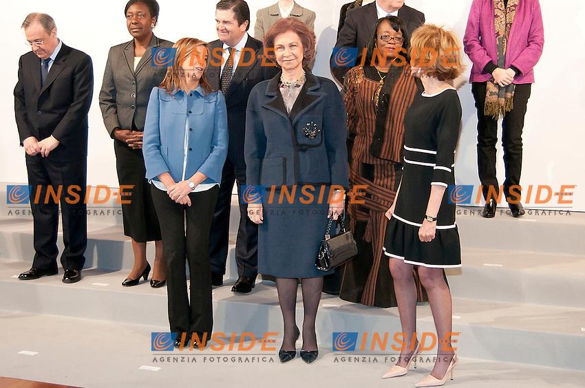 La Regina Sofia di Spagna.Madrid 8/2/2012 Museo Regina Sofia.Presentazione fondazione le donne in Africa.Foto Insidefoto / Samuel de Roman / Cooper Photographers / Panoramic.ITALY ONLY