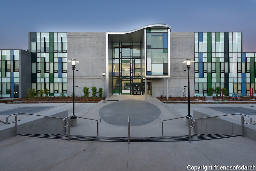 Mesa Community College Social & Behavioral Sciences Building, San Diego, CA. LEED Silver building was completed in 2014. 60,000 sf of classrooms, labs and offices. Distinctive courtyards formed by the building wings offer views to nature and opportunities for social interaction and outdoor learning. Includes Pedestrian Promenade  and raised amphitheater. Marian Marum, Landscape Architect.