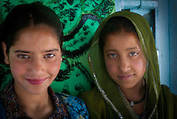 Young girls from a nomadic Bakarwal tribal family, Kashmir, India