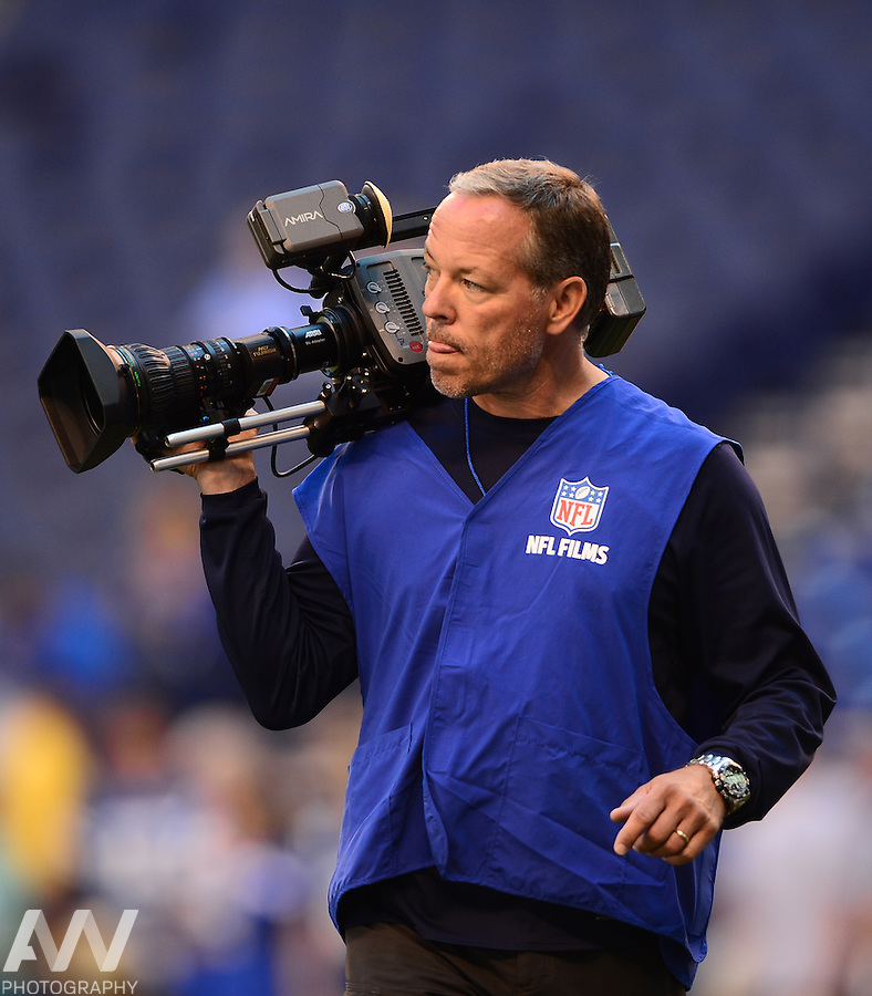 Sep 28, 2014; Indianapolis, IN, USA; NFL Films cinematographer Kaline Schounce during a NFL game between the Tennessee Titans and Indianapolis Colts  at Lucas Oil Stadium. Mandatory Credit: Andrew Weber-USA TODAY Sports