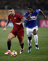 Calcio, Serie A: AS Roma - Sampdoria, Roma, stadio Olimpico, 28 gennaio 2018. <br /> Roma's Aleksandar Kolarov (l) in action with Sampdoria's Duv&agrave;n Zapata (r) during the Italian Serie A football match between AS Roma and Sampdoria at Rome's Olympic stadium, January 28, 2018.<br /> UPDATE IMAGES PRESS/Isabella Bonotto