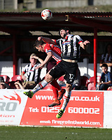 Zak Mills of Grimsby Town beats Sean McConville of Accrington Stanley to a header <br /> during the Sky Bet League 2 match between Accrington Stanley and Grimsby Town at the Fraser Eagle Stadium, Accrington, England on 25 March 2017. Photo by Tony  KIPAX / PRiME Media Images.