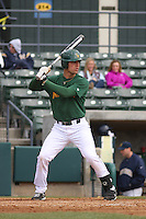 George Mason outfielder Jake Leonardo #23 at bat during a game against the West Virginia Mountaineers at BB&T Coastal Field on February 26, 2012 in Myrtle Beach, SC.  George Mason defeated West Virginia 1-0. (Robert Gurganus/Four Seam Images)