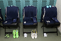 Cary, North Carolina  - Saturday June 03, 2017: Kits of McCall Zerboni, Rosana, and Debinha in the Courage locker room prior to a regular season National Women's Soccer League (NWSL) match between the North Carolina Courage and the FC Kansas City at Sahlen's Stadium at WakeMed Soccer Park. The Courage won the game 2-0.