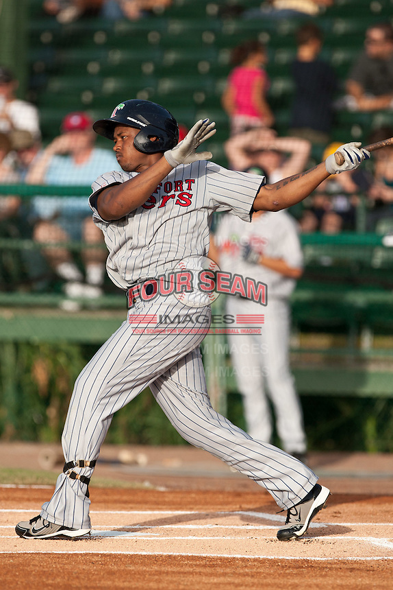 Estarlin De Los Santos of the Ft. Myers Miracle during the game against the Daytona Cubs July 17 2010 at Jackie Robinson Ballpark in Daytona Beach, Florida. Photo By Scott Jontes/Four Seam Images