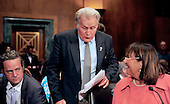 """Actor Martin Sheen prepares to take his seat to testify during a hearing before the United States Senate Committee on the Judiciary Subcommittee on Crime and Terrorism on """"Drug and Veterans Treatment Courts: Seeking Cost-Effective Solutions for Protecting Public Safety and Reducing Recidivism"""" in Washington, D.C. on Tuesday, July 19, 2011.  From left to right: Matthew Perry, Martin Sheen, Judge Jeanne E. LaFazia..Credit: Ron Sachs / CNP"""