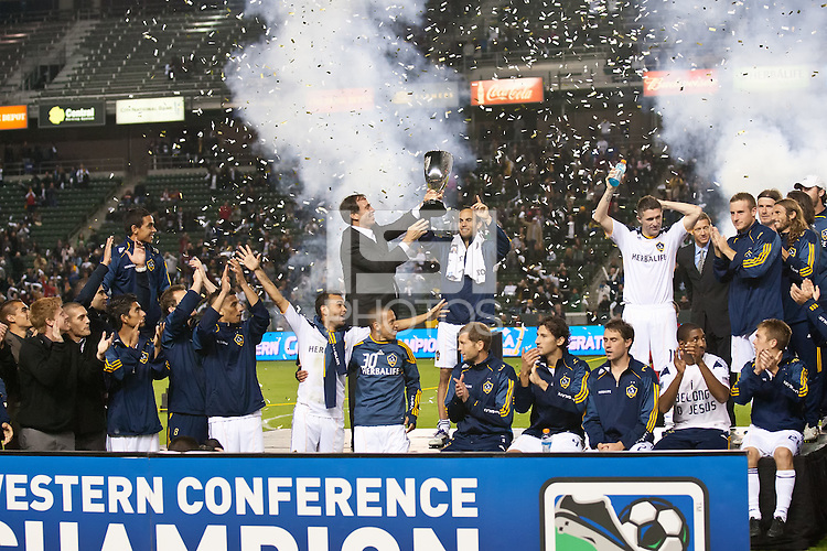 CARSON, CA - November 6, 2011: LA Galaxy team celebrating their win after the match between LA Galaxy and Real Salt Lake at the Home Depot Center in Carson, California. Final score LA Galaxy 3, Real Salt Lake 1.