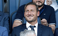 Calcio, Serie A: Bergamo, 20 agosto 2017. <br /> AS Roma's former captain Francesco Totti waits for the start of the Italian Serie A football match between Atalanta and Roma at Bergamo's Atleti Azzurri d'Italia stadium. August 20, 2017.<br /> UPDATE IMAGES PRESS/Isabella Bonotto