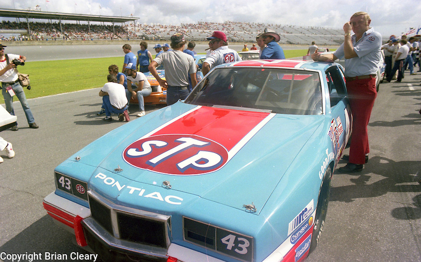 Richard Petty 43 Pontiac on pit road grid Firecracker 400 at Daytona International Speedway in Daytona Beach, FL on July 4, 1983. (Photo by Brian Cleary/www.bcpix.com)