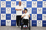 (L-R) Asao Tokolo, Aki Taguchi, JUNE 22, 2016 : Asao Tokolo and Aki Taguchi attends press conference, regarding the Tokyo 2020 Olympic and Paralympic games official goods in Tokyo, Japan.(Photo by Yusuke Nakanishi/AFLO SPORT)