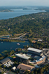 Aerial view of the new Husky stadium with I-90 floating bridge and Lake Washington