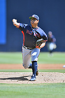 Rome Braves starting pitcher Jose Olague (34) delivers a pitch during a game against the Asheville Tourists at McCormick Field on July 21, 2019 in Asheville, North Carolina. The Tourists defeated the Braves 9-7. (Tony Farlow/Four Seam Images)