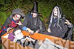 Jack O'Heara Ballyheigue, is awoken by witches  Karen Mangan Knocknagoshel, Aoife O'Connor Athea and Eda Mangan Knocknagoshel at the Knocknagoshel Halloween festival on Sunday night