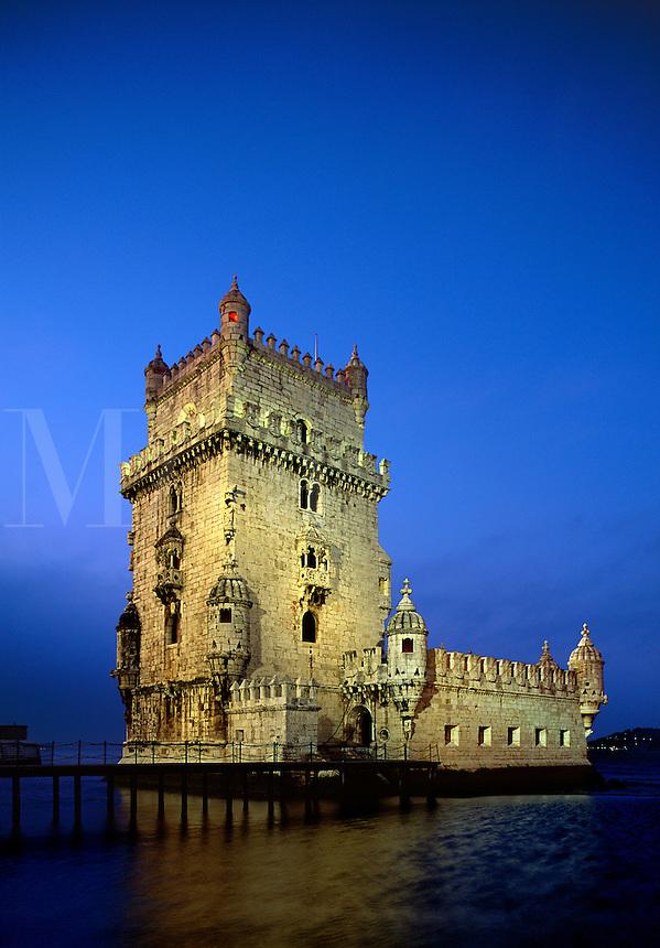 Torre de Belem Belem Tower dusk Lisbon Portugal.