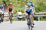 Miguel Angel Lopez Moreno (COL) Astana leads Enric Mas Nicolau (ESP) Quick-Step Floors and race leader Simon Yates (GBR) Mitchelton-Scott on the final climb during Stage 20 of the La Vuelta 2018, running 97.3km from Andorra Escaldes-Engordany to Coll de la Gallina, Spain. 15th September 2018.                   <br /> Picture: Unipublic/Photogomezsport | Cyclefile<br /> <br /> <br /> All photos usage must carry mandatory copyright credit (© Cyclefile | Unipublic/Photogomezsport)