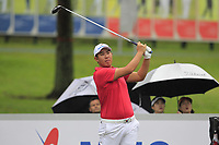 Byeonghun An (Asia) on the 8th tee during the Friday Foursomes of the Eurasia Cup at Glenmarie Golf and Country Club on the 12th January 2018.<br /> Picture:  Thos Caffrey / www.golffile.ie