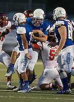 NWA Democrat-Gazette/ANTHONY REYES &bull; @NWATONYR<br /> Rogers against Claremore, Okla., Friday, Sept. 11, 2015 at Whitey Smith Stadium in Rogers.