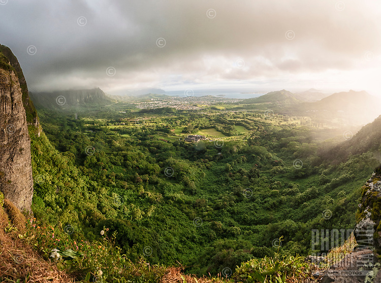 Early morning glow over the windward side of O'ahu as seen from the Pali Lookout.
