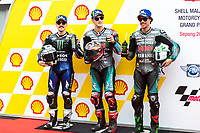 2nd November 2019; Sepang Circuit, Sepang Malaysia; MotoGP Malaysia, Qualifying Day;  Maverick Vinales, Fabio Quartararo, Franco Morbidelli  after qualifying - Editorial Use