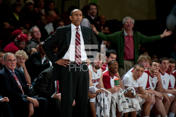 STANFORD, CA - DECEMBER 22: Head Coach Johnny Dawkins watches his team as the Stanford Cardinal falls to Baylor 66-71 at Maples Pavilion, December 22, 2011 in Stanford, California.