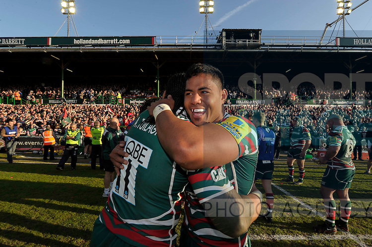 Manu Tuilagi celebrates Leicester Tigers victory with brother Alesana Tuilagi..Leicester Tigers v Saracens Aviva Premiership play-off semi final, Welford Road Leicester 12th May 2012.--------------------.Sportimage +44 7980659747.picturedesk@sportimage.co.uk.http://www.sportimage.co.uk/.Editorial use only. Maximum 45 images during a match. No video emulation or promotion as 'live'. No use in games, competitions, merchandise, betting or single club/player services. No use with unofficial audio, video, data, fixtures or club/league logos.