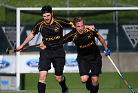 Capital's Sebastian Buddle (left) and Sijbrand Bolhuis celebrate the opening goal during the men's National Hockey League final between Harbour and Capital at National Hockey Stadium in Wellington, New Zealand on Sunday, 23 September 2018. Photo: Dave Lintott / lintottphoto.co.nz