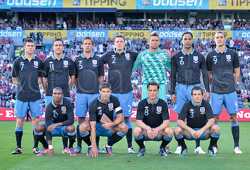 26.05.2012 Oslo, Norway The England international football team pose prior to their  international friendly match against Norway at the Ullevaal Stadion in Oslo, Norway.. England won the game by a score of 0-1.