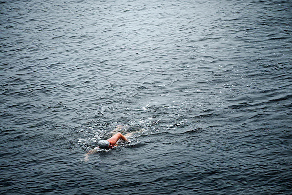 Open water swimmers at La Jolla Cove, San Diego, CA
