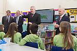 First Minister Carwyn Jones  talks to pupils during a visit to Stebonheath Primary School in Llanelli alongside Bob Ayling &ndash; Chairman Welsh Water, Jonathan Taylor &ndash; Vice President European Investment Bank &amp; Headmaster Mr Julian Littler.<br /> <br /> <br /> <br /> 08.01.15<br /> &copy;Steve Pope -FOTOWALES