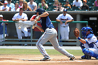 Mobile BayBears A.J. Pollock #9 lays down a bunt during a game against the Tennessee Smokies at Smokies Park in Kodak,  Tennessee;  May 22, 2011.  The Smokies won the game 4-2.  Photo By Tony Farlow/Four Seam Images