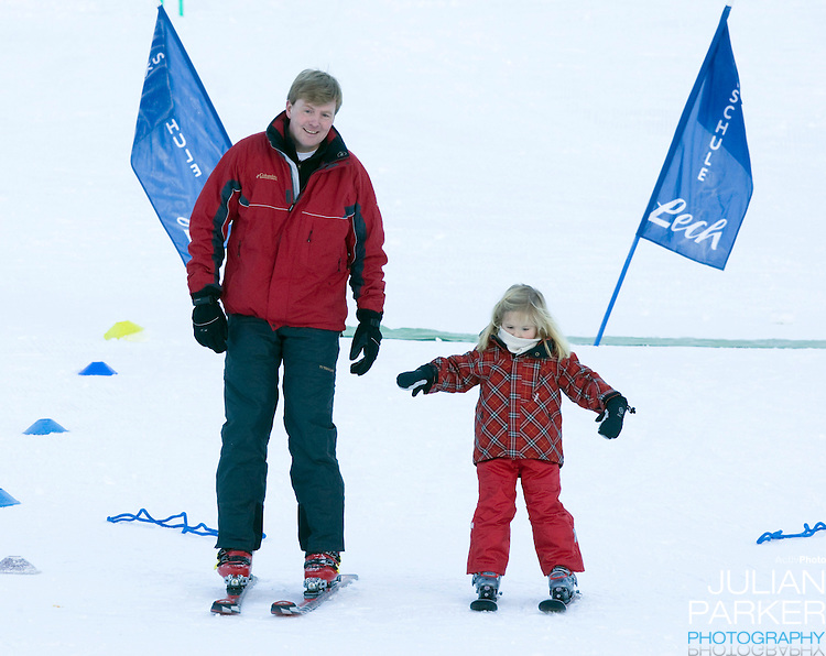 Crown Prince Willem Alexander with Daughter Princess Catharina Amalia attend a Photocall with Members of The Dutch Royal Family during their Winter Ski Holiday in Lech Austria