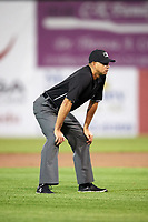 Umpire Marcelo Alfonzo during a Connecticut Tigers game against the Auburn Doubledays on August 8, 2017 at Falcon Park in Auburn, New York.  Auburn defeated Connecticut 7-4.  (Mike Janes/Four Seam Images)