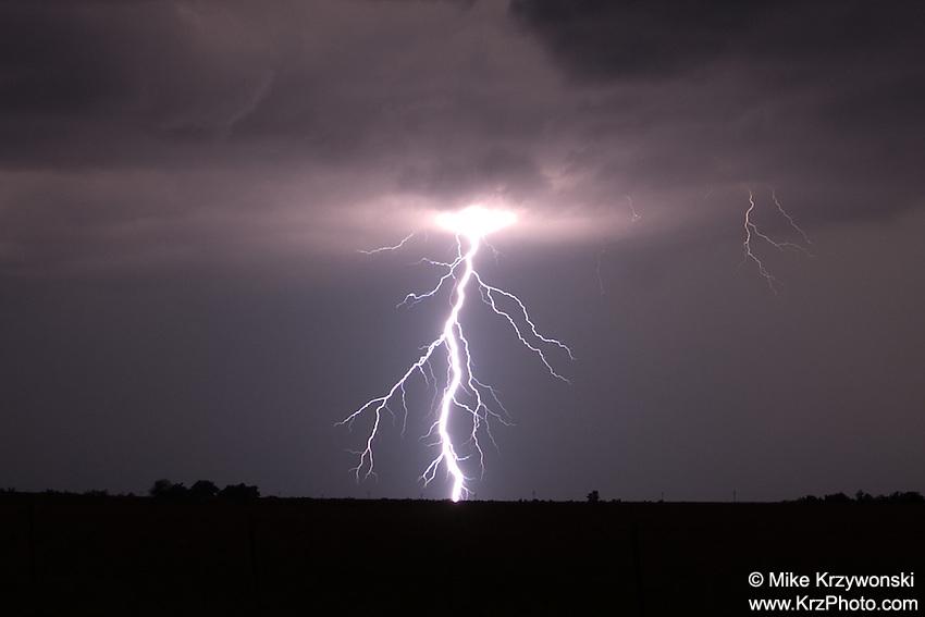 Lightning bolt at night in Kansas