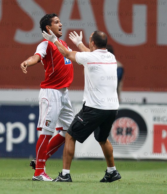 Mathaeus scores Braga's goal no 3 from a free-kick