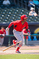 Springfield Cardinals outfielder Justin Williams (25) runs for first on May 19, 2019, at Arvest Ballpark in Springdale, Arkansas. (Jason Ivester/Four Seam Images)