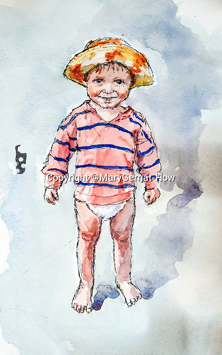 BNPS.co.uk (01202 558833)<br /> Pic: MaryGernat-How/BNPS<br /> <br /> ***Single Use - Not For Archive***<br /> <br /> Mary's sketch of a grandchild.<br /> <br /> The real family behind Enid Blyton's iconic book covers has been revealed for the first time thanks to a hidden archive of sketches and family photos.<br /> <br /> Mary Gernat, who created the paperback covers for about 100 children's books in the 1960s, would get her young sons to stop mid-play and pose for her while she quickly sketched ideas for books like The Famous Five, the Secret Series, St Clare's and Malory Towers.<br /> <br /> Her son Roger How, 58, has now unveiled some of his mother's never-seen-before original sketches and finished book drafts which capture the classic images of childhood adventure he and his brothers helped create.
