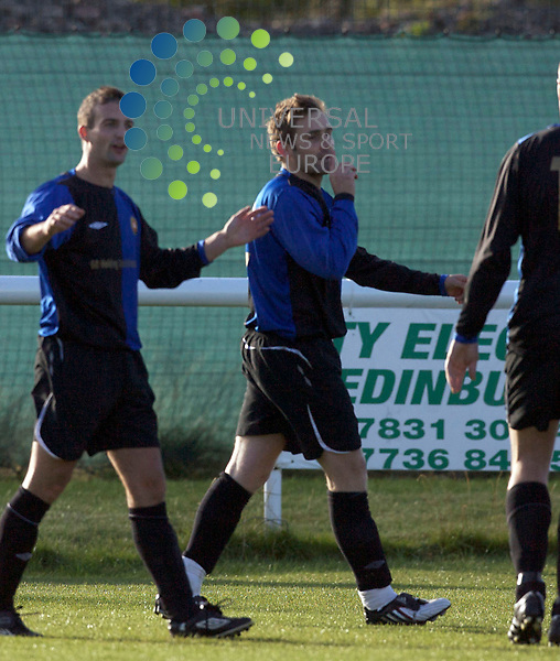 Spartans FC v Larkhall FC .. .  Larkhall's David Menelaws celebrates after his goal    during the Scottish Junior Cup, 1st round match between, Spartans Football Club  and Larkhall Football Club...Picture by Mark Davison/ Universal News & Sport