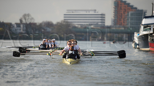 01.03.2014. CLUB FIXTURE 2014 BOAT RACE SEASON.  Oxford University Women's Boat Club v Molesey Boat Club. OUWBC crew (blue shirts):  Bow: Elizabeth Fenje;2: Alice Carrington-Windo; 3: Maxie Scheske;4: Nadine Graedel Iberg; 5: Amber De Vere; 6: Lauren Kedar; 7: Anastasia Chitty; Stroke: Laura Savarese; Cox: Erin Wysocki-Jones.<br /> <br /> MBC crew:  Bow: Aimee Jonckers; 2: Emma Boyns; 3: Nel Castle-Smith; 4: Victoria Watts; 5: Amber Anderson; 6: Gabby Rodriguez; 7: Karen Bennett; Stroke: Samantha Fowler; Cox: Connie Pidoux.