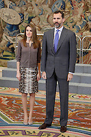 Prince Felipe of Spain and Princess Letizia of Spain attend an audience at Zarzuela Palace. December 14, 2012. (ALTERPHOTOS/Caro Marin) /NortePhoto
