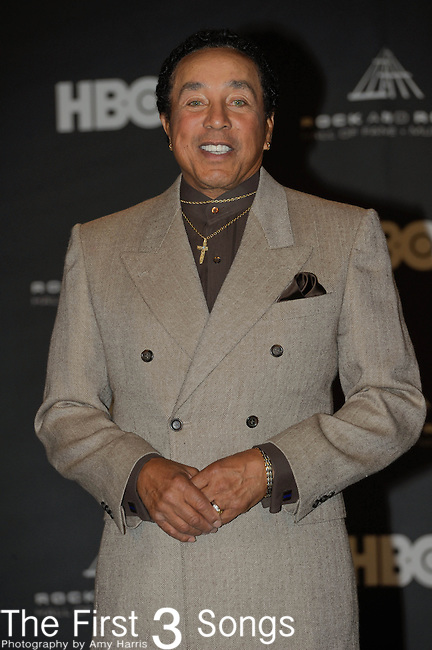 Smokey Robinson in the press room of the Rock & Roll Hall of Fame Induction Ceremony in Cleveland, Ohio on April 14, 2012.