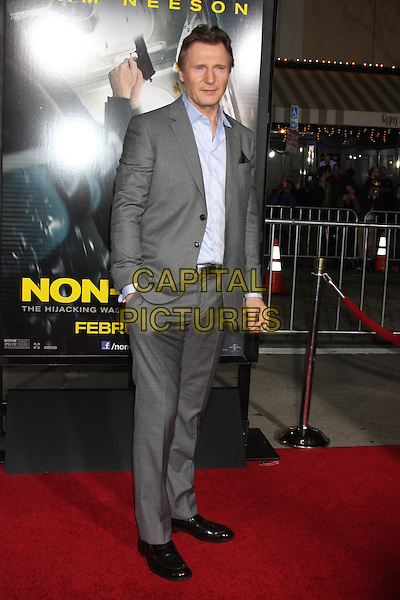 LOS ANGELES, CA - FEBRUARY 24: Liam Neeson at the &quot;Non-Stop&quot; Premiere, Village Theater, Westwood,  February 24, 2014. <br /> CAP/MPI/JO<br /> &copy;JO/MPI/Capital Pictures