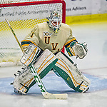 16 November 2013: University of Vermont Catamount Goaltender Mike Santaguida, a Freshman from Mississauga, Ontario, is set for third period action against the Providence College Friars at Gutterson Fieldhouse in Burlington, Vermont. The Friars shut out the Catamounts to sweep the 2-game weekend Hockey East Series. Mandatory Credit: Ed Wolfstein Photo *** RAW (NEF) Image File Available ***